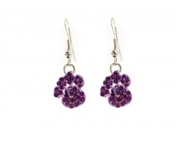 Purple Crystal Mini Paw Print Hook Earrings