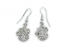 Clear Crystal Mini Paw Print Hook Earrings