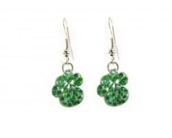 Green Crystal Mini Paw Prints Hook Earrings