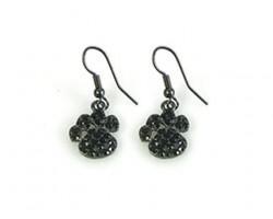 Black Crystal Mini Paw Print Hook Earrrings