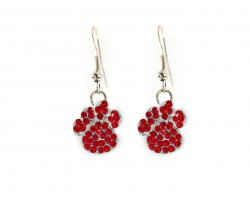 Red Crystal Mini Paw Print Hook Earrings