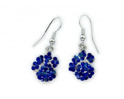 Blue Sapphire Crystal Mini Paw Print Hook Earrings