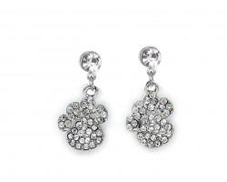Clear Crystal Pavé Paw Print Dangling Post Earrings