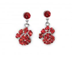 Red Crystal Pavé Paw Print Dangling Post Earrings