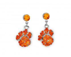 Orange Crystal Pavé Paw Print Dangling Post Earrings