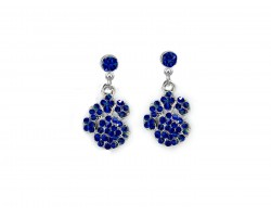 Blue Sapphire Crystal Pavé Paw Print Dangling Post Earrings