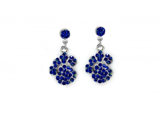 Blue Sapphire Crystal Pavé Paw Print Dangling Post Earrings