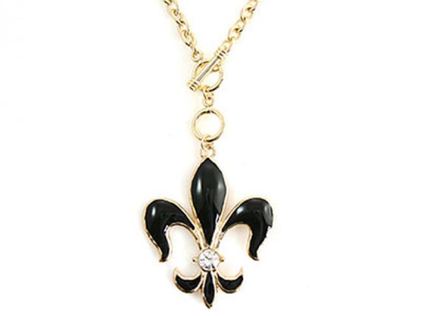 Gold chain toggle necklace with black fleur de lis pendant aloadofball Images