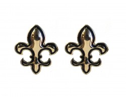 Gold Fleur De Lis Black Trim Post Earrings