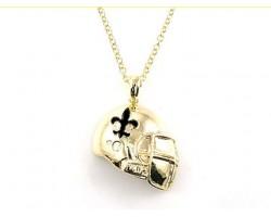 Black Gold Fleur De Lis Football Helmet Necklace