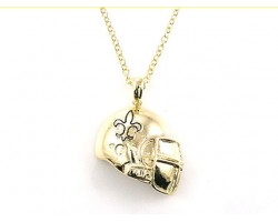 Gold Metal Fleur De Lis Football Helmet Necklace