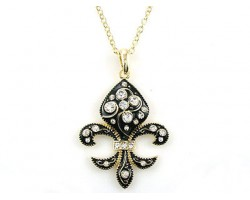 Gold Crystal Black Stone Fleur De Lis Necklace