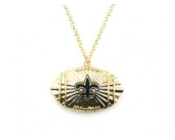 Gold Chain Necklace with Football & Black Fleur De Lis