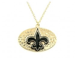 Gold Chain Necklace with Hammered Oval & Black Fleur De Lis