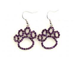 Purple Crystal Outlined Paw Print Hook Earrings
