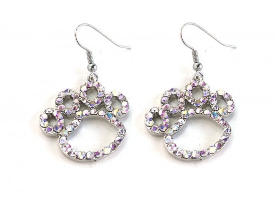AB Clear Crystal Outlined Paw Print Hook Earrings