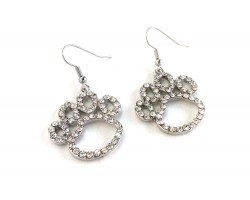 Clear Crystal Outlined Paw Print Hook Earrings