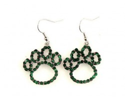 Green Crystal Outlined Paw Print Fish Hook Earrings