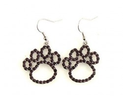 Black Crystal Outlined Paw Print Fish Hook Earrings