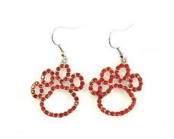 Red Crystal Outlined Paw Print Hook Earrings