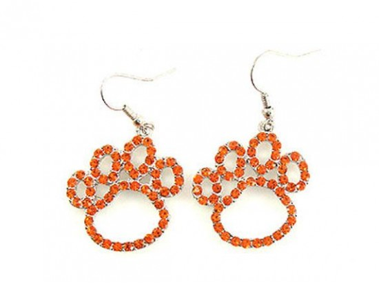 Orange Crystal Outlined Paw Print Fish Hook Earrings