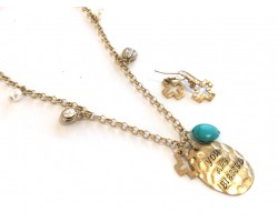 Antique Gold Distressed Turquoise Cross Blessed Necklace Set
