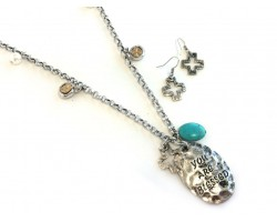 Antique Silver Distressed Turquoise Cross Blessed Necklace Set
