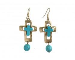 Gold Turquoise Cross Hook Earrings
