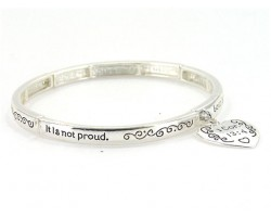 Silver Plate 1 Corinthians 13:4 with Heart Charm Stretch Bracelet
