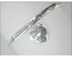 Silver Plate Serenity Prayer Heart Dangle Charm Stretch Bracelet