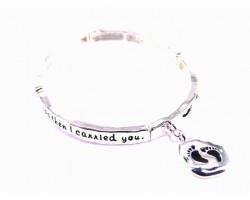 Antique Silver Follow the Footprints Charm Stretch Bracelet