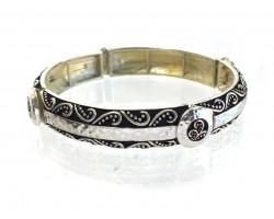 Silver Etched Vine Stretch Bracelet