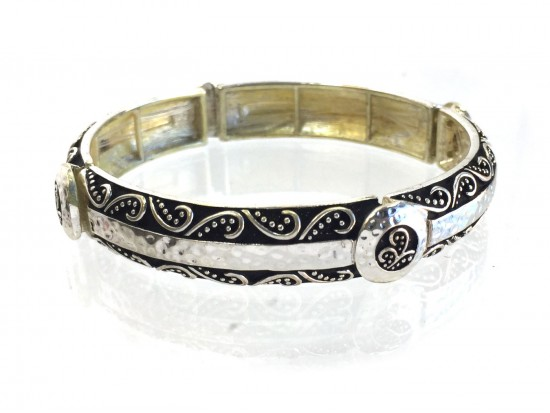Silver Etched Vine Stretch Bracelet