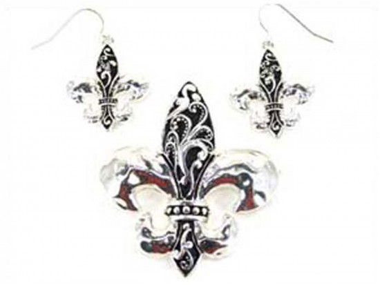 Silver Fleur De Lis Earring Pendant Set