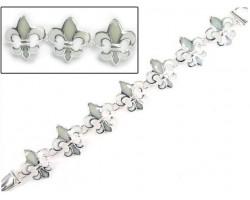 White Fleur-De-Lis Magnetic Bracelet