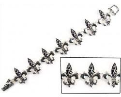 Silver Filigree Fleur-De-Lis Magnetic Bracelet