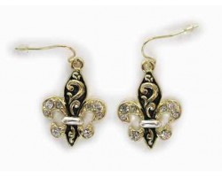 Gold Fleur De Lis Filigree Clear Crystal Earrings