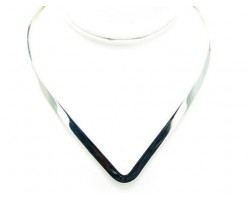 Silver Plate Wide V Neck Flat Thin Choker
