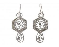 Silver Open Cut Hex Lace Look Crystal Earrings
