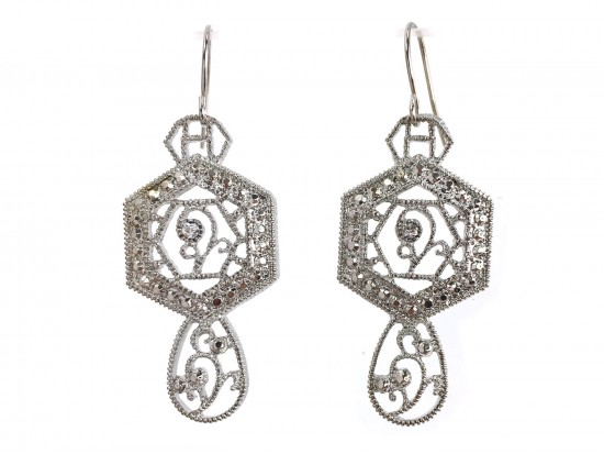 Silver Open Cut Hex Lace Look Crystal Earrings