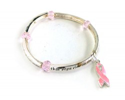 Pink Cancer Ribbon Crystal Charm Stretch Bracelet