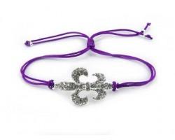 Silver Crystal Fleur De Lis Purple Cord Bracelet