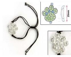 Silver Clear Crystal Paw Print Black Cord Bracelet