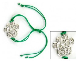 Silver Clear Crystal Paw Print Green Cord Bracelet