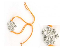 Silver Clear Crystal Paw Print Orange Cord Bracelet