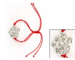 Silver Clear Crystal Paw Print Red Cord Bracelet