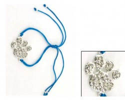 Silver Clear Crystal Paw Print Turquoise Cord Bracelet