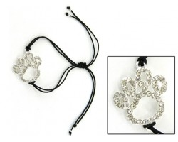 Silver Clear Crystal Paw Print Outline Black Cord Bracelet