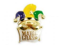 Gold Mardi Gras White Mask Brooch