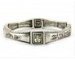 Silver Luke 11:9 Cross Stretch Bracelet